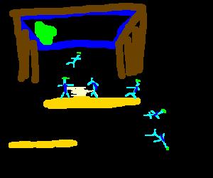 Lemmings falling to their doom.