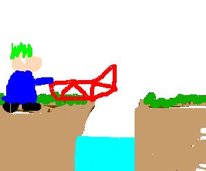 Lemming building a bridge