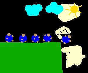 Lemmings jump off a cliff.
