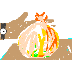 Hand slapchops onion.