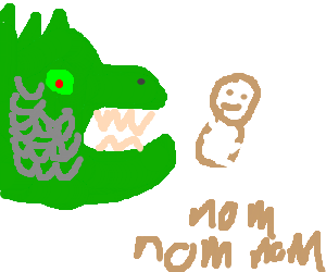 Dragon eating a baby