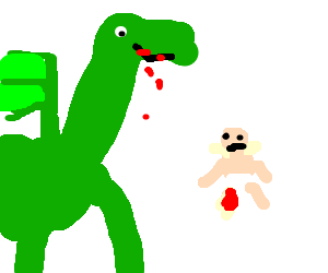 green dragon eating a baby; delicious