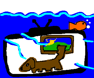 tv in water showing a dog walking by a painting