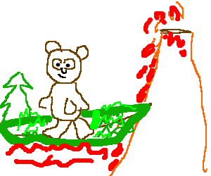 bear surfing a volcano on chunk of land   ships