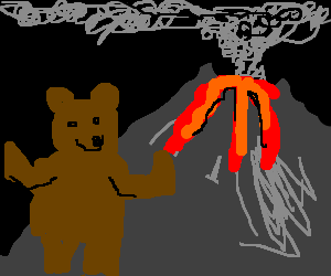 bear don't care about erupting volcano