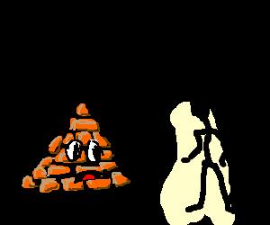 two midgets cosplay as pyramid head