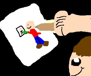 A man drawing a man drawing a man