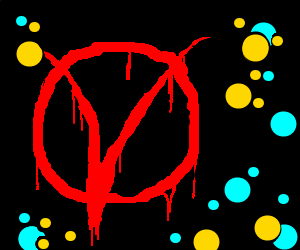 Red V, cyan dots, black outline on yellow dots