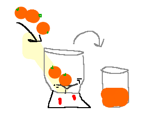 Freshly-squeezed orange juice in the making