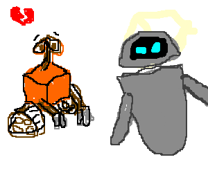 Eve and Wall-E break up, Wall-E is sad