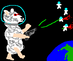 Evil giant space lamb murders stick figures