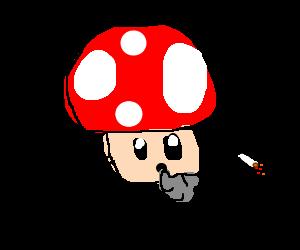 Mario Fungus smoking on a tub