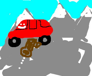 Anthropomorphic car does the rockies
