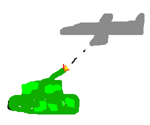 Tank shoots an airplane