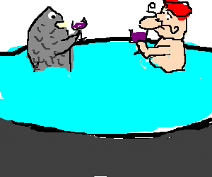 A fishman and a frenchman drink wine in a pool