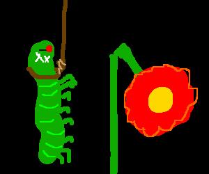 Caterpillar kills self for breaking flower stem.