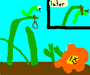 Green worm commits suicide 'cause flower is dead