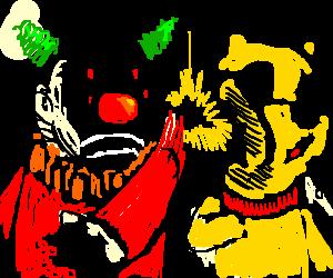 clown bitchslapping a bear