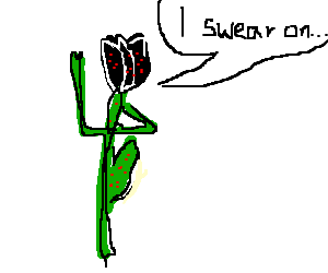 Diseased black tulip takes an oath