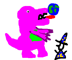 Barney the Worldeater will eat little wizards!