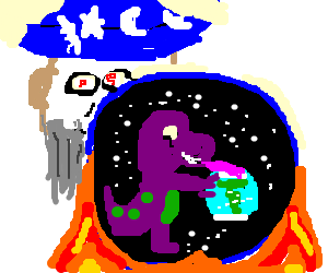 Wizard observes Barney licking Earth