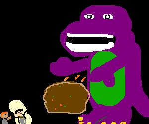 Barney the dinosaur Throws boulder at Frodo