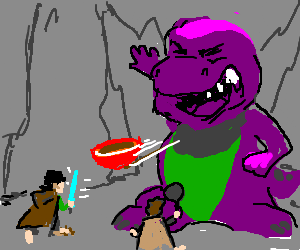 sam and frodo fight giant barney who throws boul
