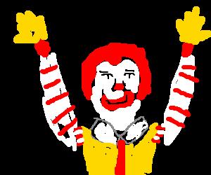 Ronald mcdonald finds true happiness.