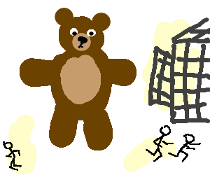 run out,pedobear escaped from the cage