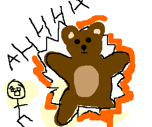 stickmen terrified by giant escaping teddybear