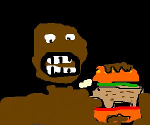 Black man eats hamster.
