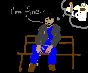 Sad Keanu is lying, thinking of coffee and smoke