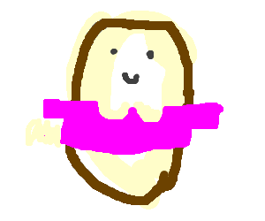 Potato with a clevage and sexy pink shirt
