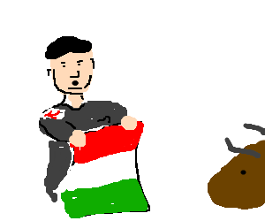 Hitler practices Bull Fighting with Italian Flag