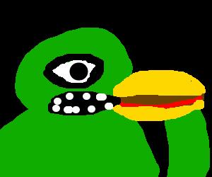 Green alien cyclops attempting to eat