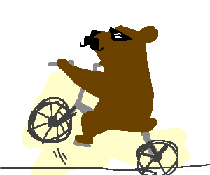 Mustached animal popping a wheelie