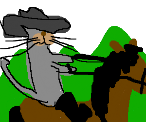 A cat is riding a horse in the mountains.
