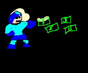 Megaman shoots dollar bills from his arm.