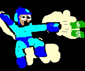 Megaman firing his Cash Cannon