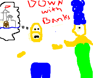 the simpsons protest banks, rather have castle