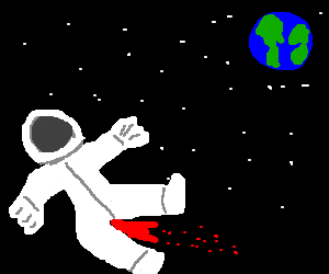 man on period watches earth from deep space