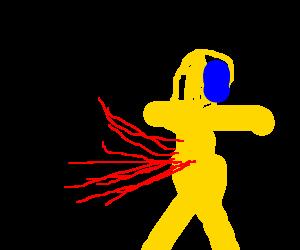 A ninja kills a biohazard worker with one kick!!