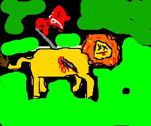 A lion impaled by a golf-hole's flag.