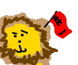 """(confused) Lion with red """"#1"""" flag in mane"""