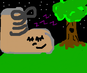 giants shoe falls asleep on hill at night