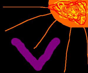 "sun shines on purple ""V"""