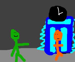 Green man sends orange man through time machine
