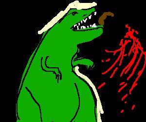 Red T-rex head eating a human head