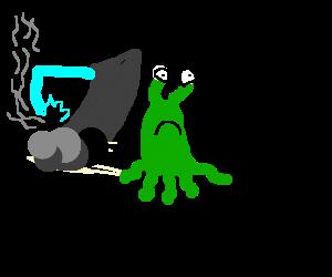 the little green alien is all alone :(