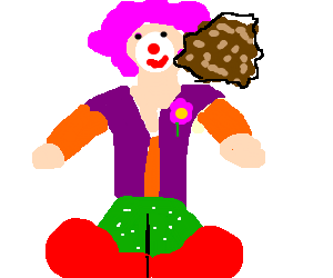Clown with massive meatball attached to face
